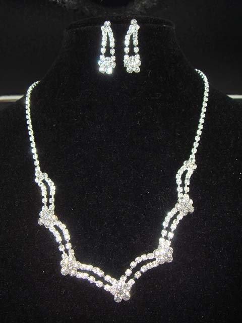 Bridal Crystal Rhinestone earring necklace set NR104