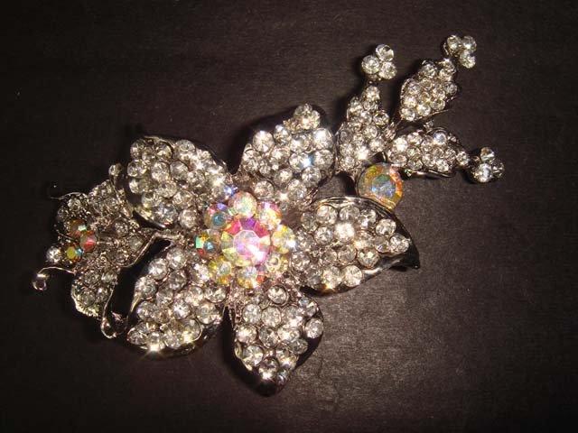 Bridal Crystal flower Rhinestone Brooch pin PI252