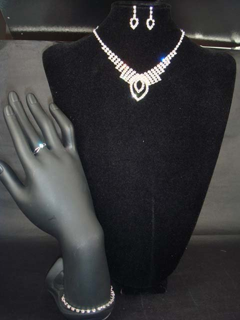 Bridal rhinestone bracelet ring necklace earring NR217