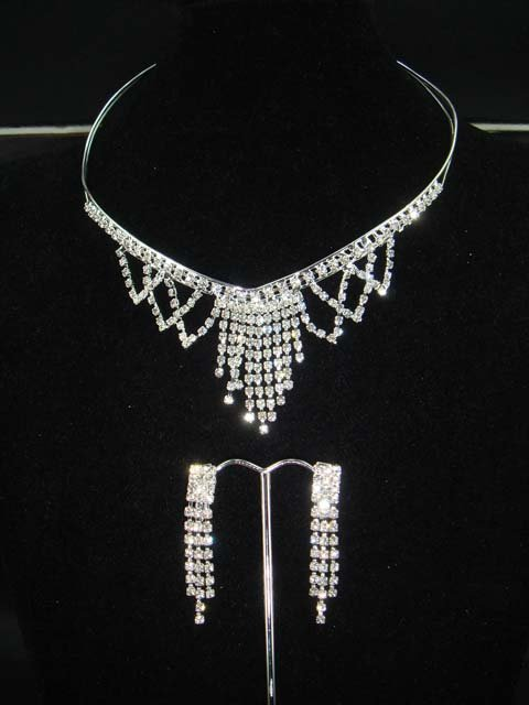 Bridal Crystal Rhinestone earring necklace set NR92