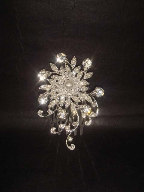 Bridal Rhinestone crystal Faux Pearl tiara Comb RB430