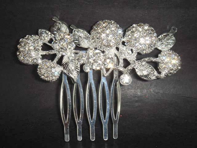 Bridal Rhinestone leaf Crystal Hair tiara Comb RB116