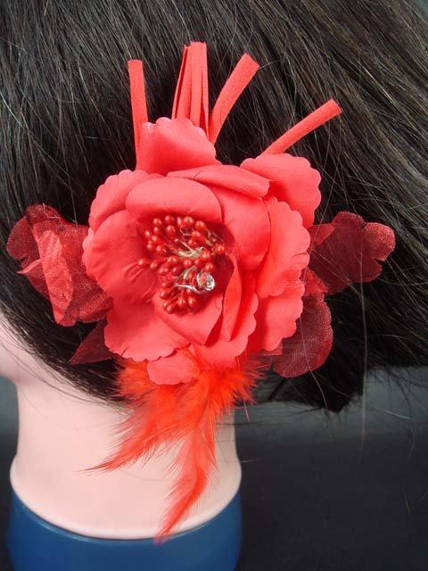 Bridal Wedding Feather Red silk flower pin clip BA75