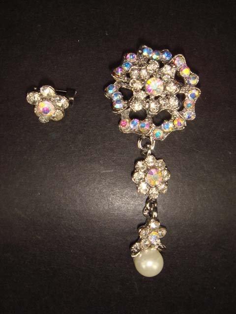 2 pcs Bridal Faux Pearl Rhinestone Brooch pin Pi155