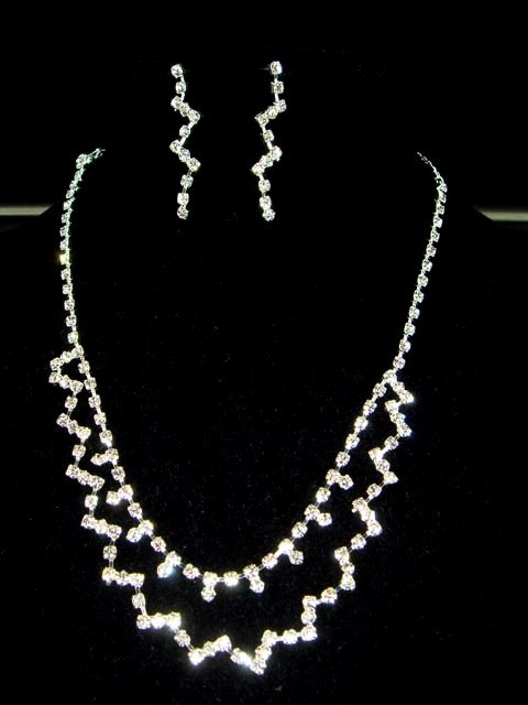 Bridal Cocktail rhinestone necklace earring set NR168