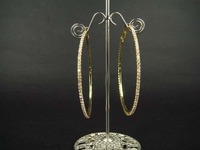 "Bridal Rhinestone golden Crystal Hoop Earring 2.5"" ER20"