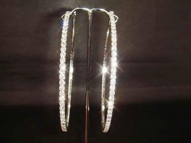 """Bridal Rhinestone Earring Hoop Crystal 3.2"""" ER158"""