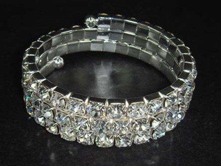 Bridal 3 row Rhinestone Stretch Bracelet Armlet BR172