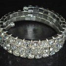 Bridal 3 row Rhinestone Stretch Bracelet Armlet BR172