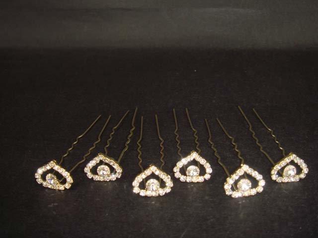 6 pcs Bridal Rhinestone Heart tiara hairpin RP148