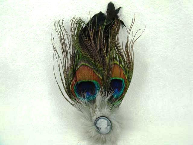 Bridal Feather cameo Hair peacock pin clip brooch BA107