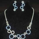 Bridal blue Rhinestone earring necklace set NR185