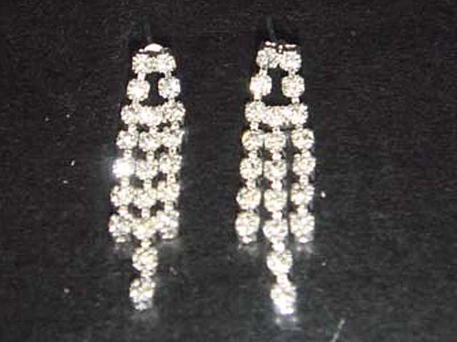 3 row Wedding stud Cystral Rhinestone Earring ER161