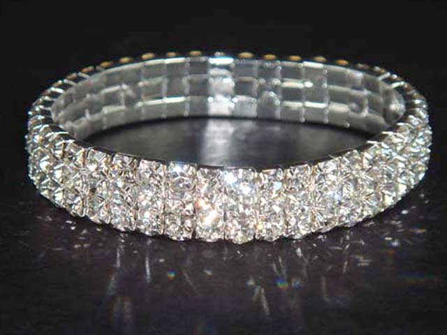 3 row Bridal Crystal Rhinestone Bangle Bracelet BR13