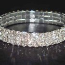 3 row Bridal Crystal Rhinestone Bangle Bracelet BR13