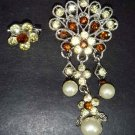 2 pc Bridal Faux Pearl Rhinestone Brooch pin Pi152