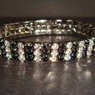 3 row Bridal Crystal Rhinestone Bangle Bracelet BR134