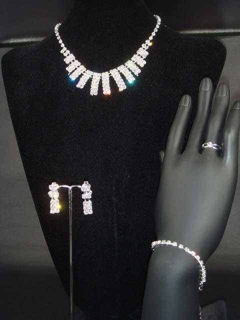 Bridal Rhinestone earring necklace ring bracelet NR199