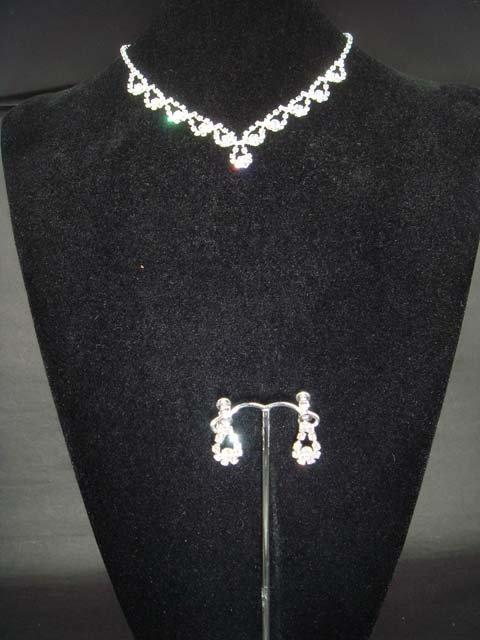 Bridal Crystal rhinestone necklace earring set NR202