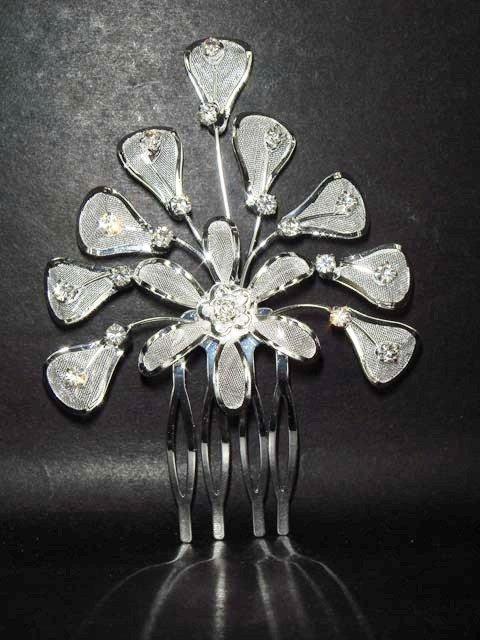 Bridal Wedding Rhinestone Flower Hair tiara Comb RB62