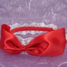 Bridal Flower girl Bow Red Ivory Pink Headband HR115