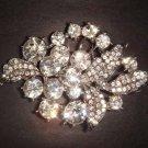 Bridal Crystal bling leaf Rhinestone Brooch pin PI232