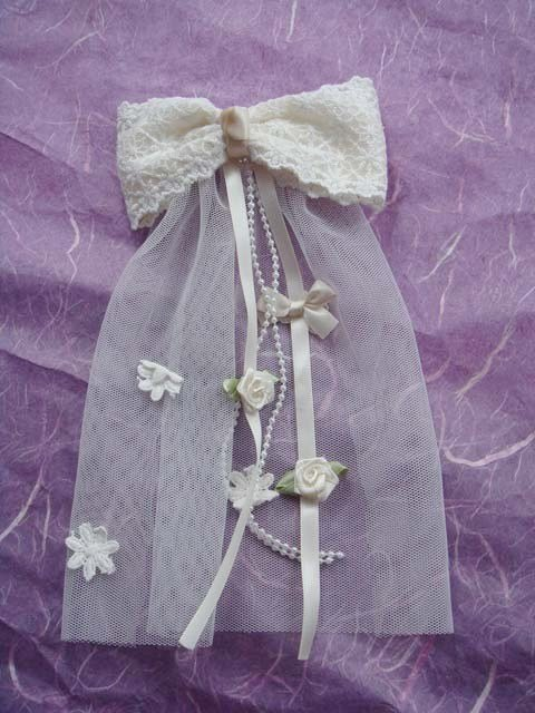 Bridal Flower girl Bow Lace Ivory Pink Barrettes HR114