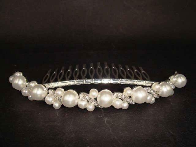 Bridal Rhinestone Faux pearl Hair tiara Comb RB434