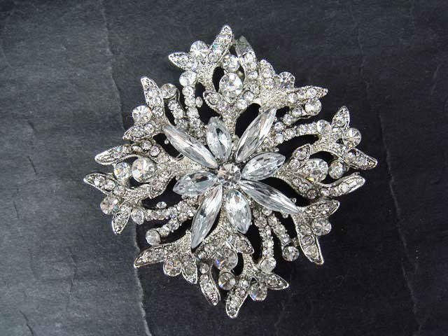 Bridal Crystal rhombus Square cake topper Rhinestone Brooch pin PI408