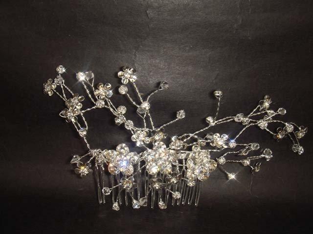 Bridal Rhinestone Crystal Flower Hair tiara Comb RB417