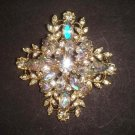 Bridal gold tone cross cake Rhinestone Brooch pin PI498