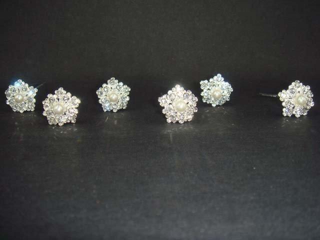 6 Bridal Faux pearl Rhinestone veil prom Hairpins RP171
