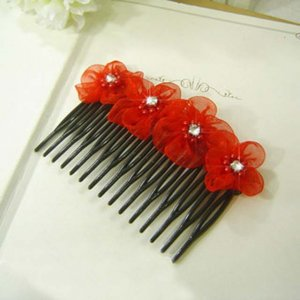 Bridal Red prom Silk Flower Hair Fascinator Comb RB454