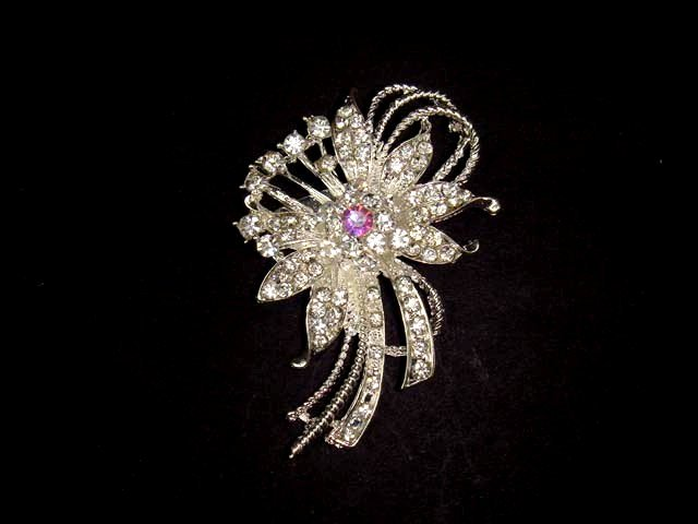 Bridal dress cake topper Rhinestone Brooch pin PI461
