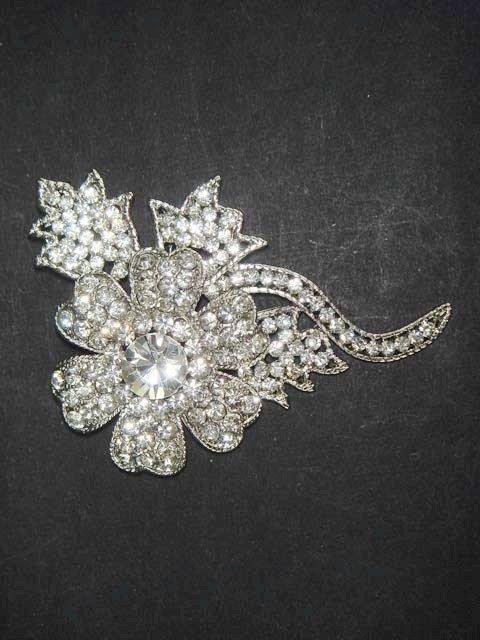 Bridal flower dress crystal Rhinestone Brooch pin PI481