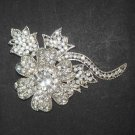 Bridal flower dress crystal Rhinestone Brooch pin PI481