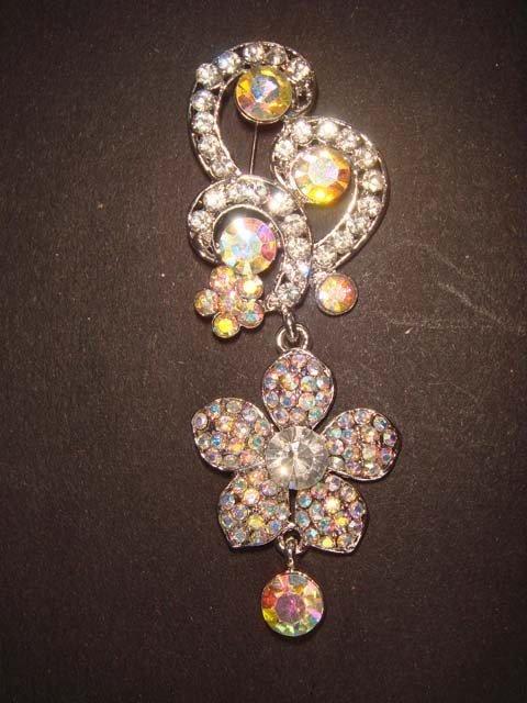 Bridal AB crystal dangle Rhinestone pin brooch PI422