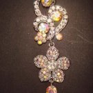 Bridal AB crystal dangle Rhinestone pin brooch PI422