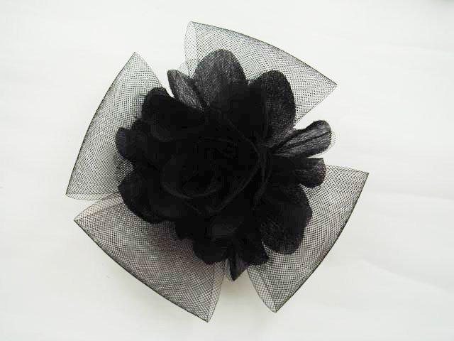 Bridal White black flower hair Fascinator brooch clip BA146