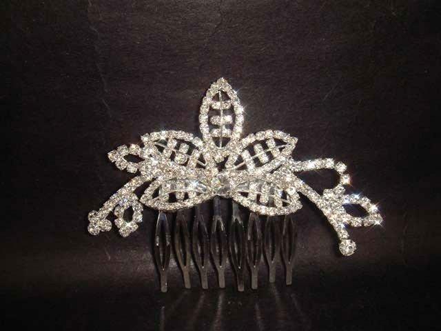 Bridal Crystal Rhinestone Leaf Hair tiara Comb RB445
