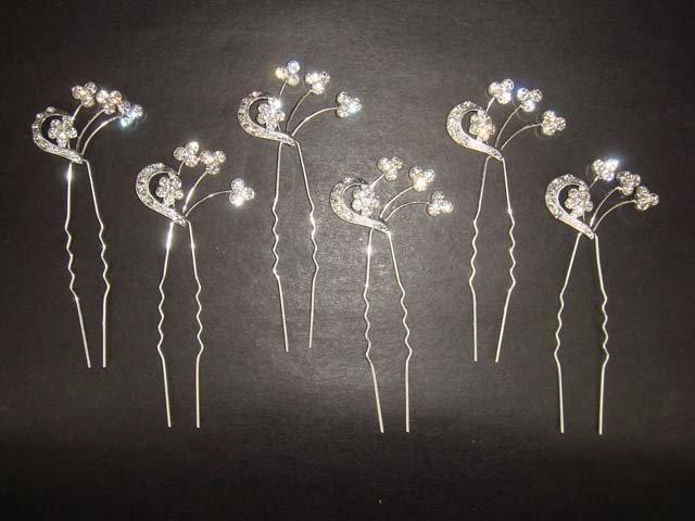 6 Bridal Vintage style Crystal Rhinestone Hair pin Hairpin BH194