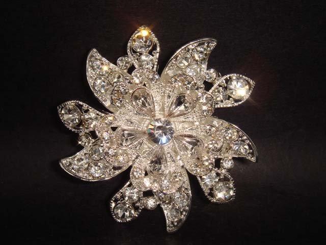 Bridal cake topper Crystal Rhinestone Brooch pin PI139