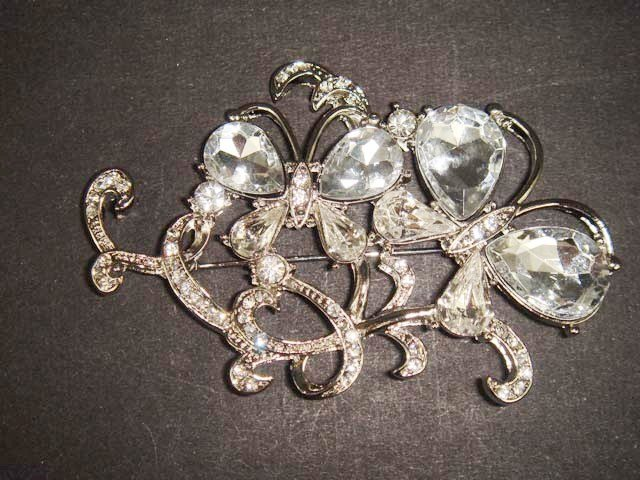 Bridal butterfly crystal Rhinestone Brooch pin PI482