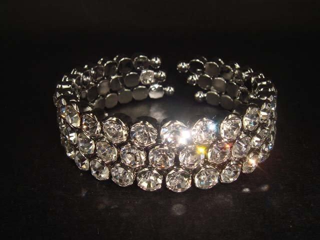 Bridal 3 row Rhinestone Crystal Bracelet Cuff BR166