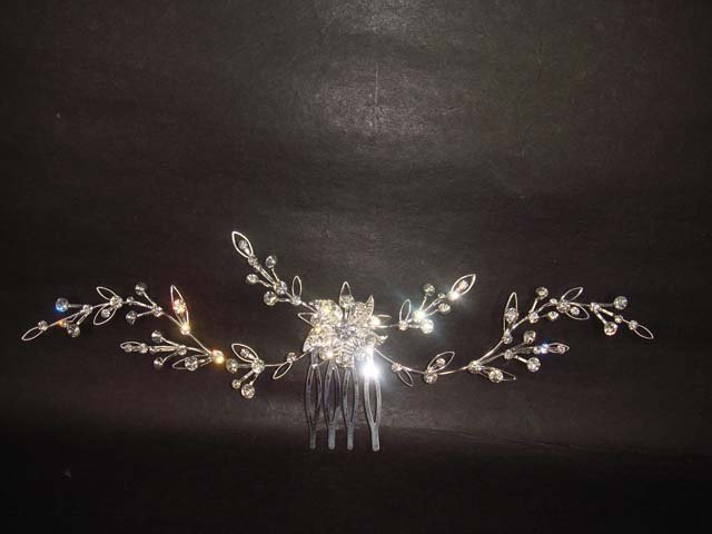 Bridal Crystal Flower Rhinestone Hair tiara Comb RB349