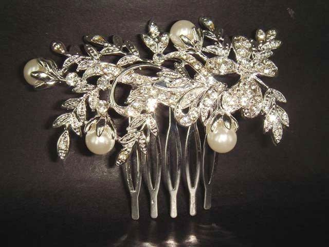 Bridal Faux Pearl Rhinestone Hair tiara Comb RB109