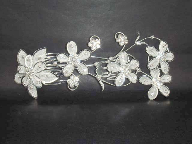 Bridal Rhinestone Flower Crystal Hair tiara Comb RB118