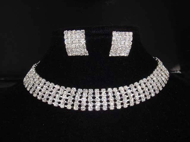 5 row Bridal Rhinestone necklace earring Set NR205