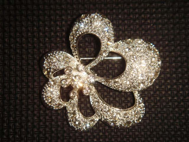 Bridal Cake topper Crystal Rhinestone Brooch pin PI450