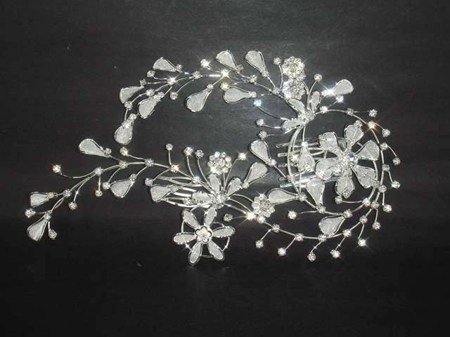 Bridal Rhinestone crystal flower Hair tiara Comb RB338